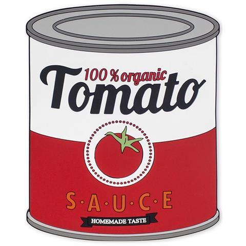 Sottopentola Tomato Sauce In Forma Di Barattolo Di Conserva; Essendo Magnetico Aderisce Alle Superfici Metalliche, Materiale: Silicone