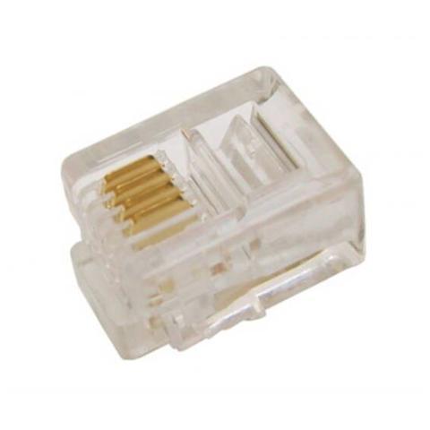 DIGITUS Connettore Plug Telefonico 4 Conduttori 6 Posizioni 6P4C (A-Mo 6/4 Sf)