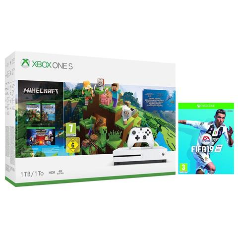 Image of Console Xbox One S 1TB Minecraft Story Mode + Explorer + FIFA 19 Limited Bundle