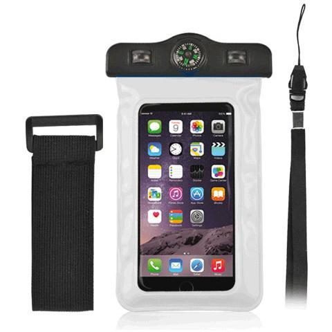 """FONEX Custodia Waterproof Plus con Bussola per Dispositivi 3""""- 5.7"""" Colore Bianco"""