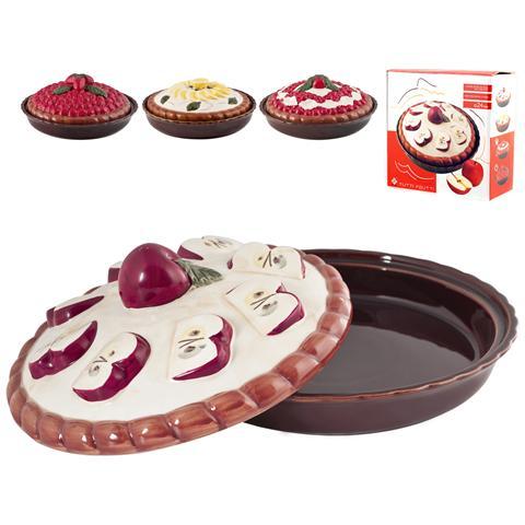 Tortiera Ceramica Con Coperchio Decorazione Ass 26 Pasticceria