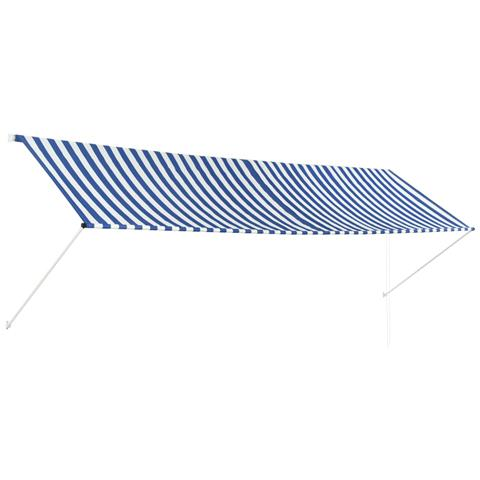 Tenda Da Sole Retrattile 400x150 Cm Blu E Bianco