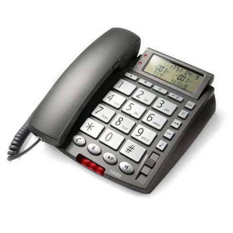 SAIET Telefono Multifunzione con Vivavoce e Tasti Grandi colore Grigio