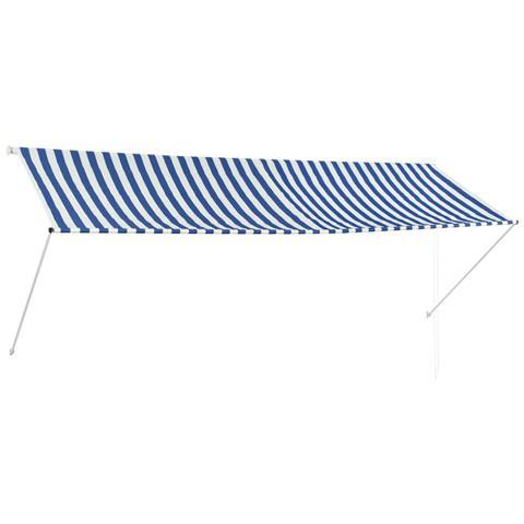 Tenda Da Sole Retrattile 350x150 Cm Blu E Bianco