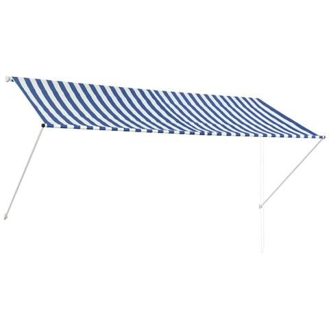 Tenda Da Sole Retrattile 300x150 Cm Blu E Bianco