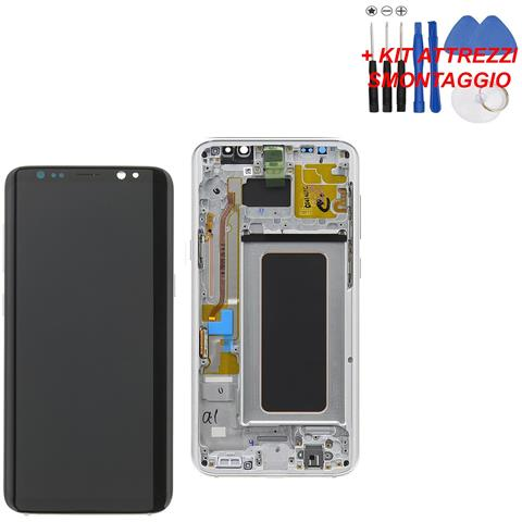 Image of Lcd Touch Display Schermo Silver Originale Samsung Per Galaxy S8+ Plus Sm-g955