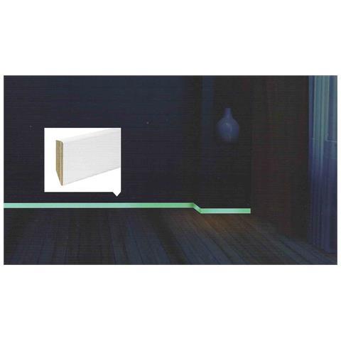 Ml 24 Di Battiscopa ''''luminoso'''' Autoilluminante In Legno Taglio Quadro Laccato Bianco...