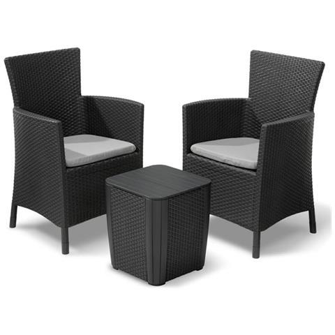 Set Tavolo e Due Sedie per Esterni Iova Grafite 223929