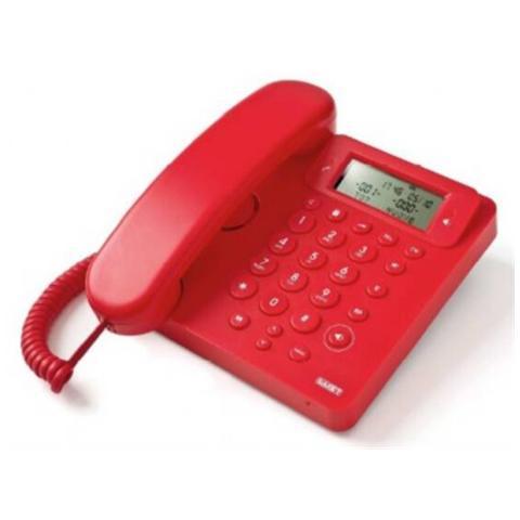 SAIET Telefono Multifunzione - Vivavoce - Identificatore Del Chiamante - Ego Rosso