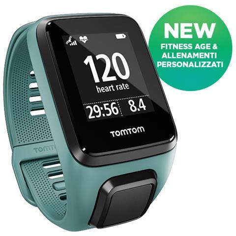 TOMTOM Spark 3 Cardio + Music Orologio GPS fitness Taglia S Activity Tracker Multisport con esplorazione del percorso, sensore cardiofrequenzimetro e lettore musicale - Aqua