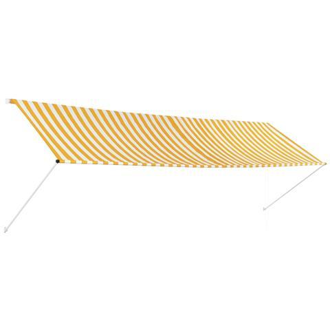 Tenda Da Sole Retrattile 400x150 Cm Giallo E Bianco