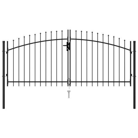 Cancello A Doppia Anta Con Punte In Acciaio 3x1,25 M Nero