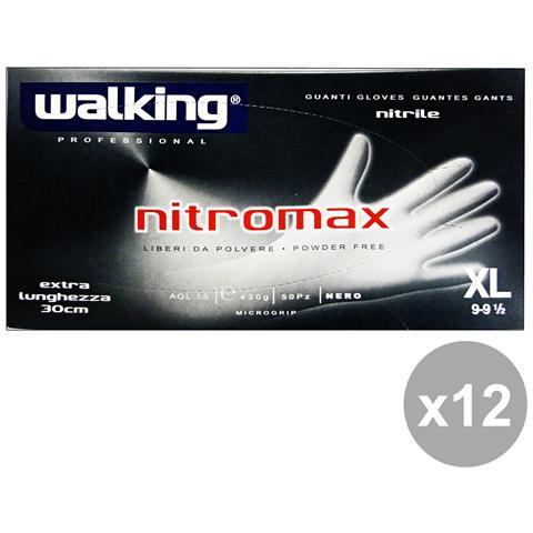 Walking Set 12 Guanti Nitromax Extra Lunghi Neri X 50 Pezzi Xl - Giardinaggio