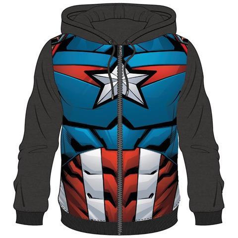 BIOWORLD Avengers - Captain America Sublimated Black (Felpa Con Cappuccio Unisex Tg. L)