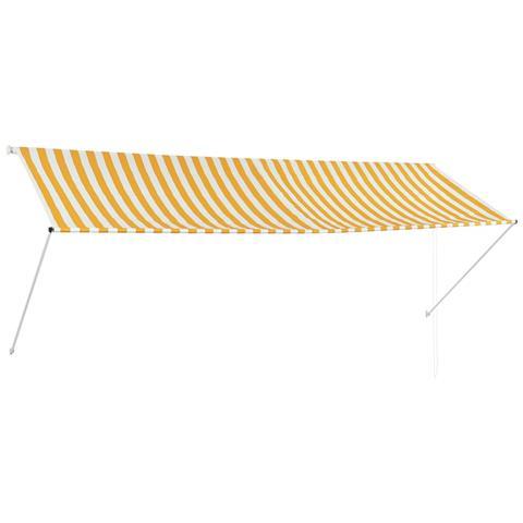 Tenda Da Sole Retrattile 350x150 Cm Giallo E Bianco