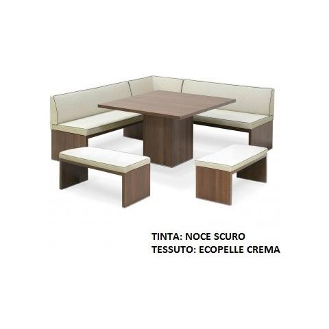 Casa ABC Panca Mod. Roma Angolare Con Tavolo E Due Panchette Tinta Noce Scuro