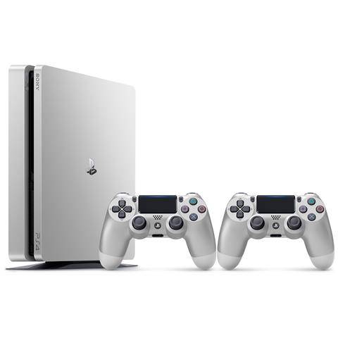 Image of Console Playstation 4 500 Gb Slim Silver + 2 Controller Dualshock 4 V2 Silver Limited Bundle