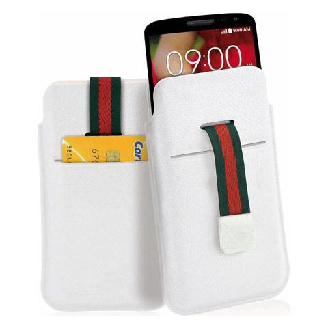 FONEX Stripe Plus in Ecopelle Semilucida con Porta Card Taglia M Colore Bianco