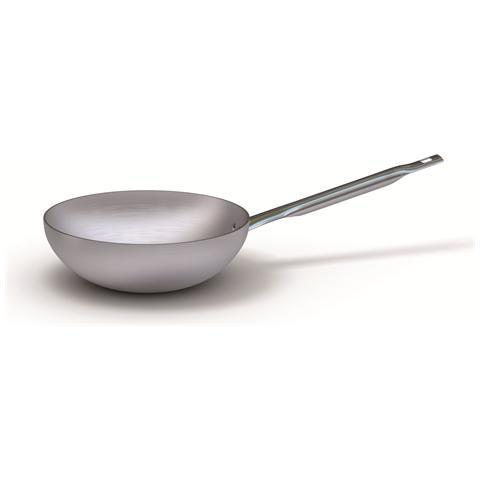 Padella Wok In Alluminio A Mantecare Con Manico In Acciaio Inox, Spessore 3 Mm - Diametro Cm 24 - Altezza Cm 7,5