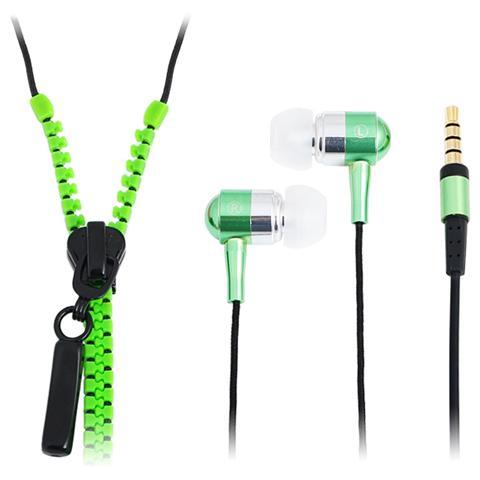 LOGILINK SB-HP ZIP-GREEN - Auricolari Stereo Zipper con Microfono e Telecomando Verde