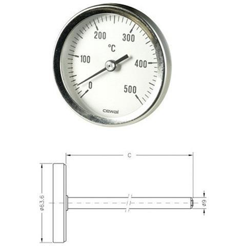 Pirometro Termometro 0-500° Bimetallico Per Forno Stufa Camino Barbecue Con Sonda 15 Cm 916 361 50