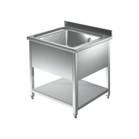 Lavello 80x60x85 Acciaio Inox 430 Su Gambe Ripiano Cucina Ristorante Rs4674