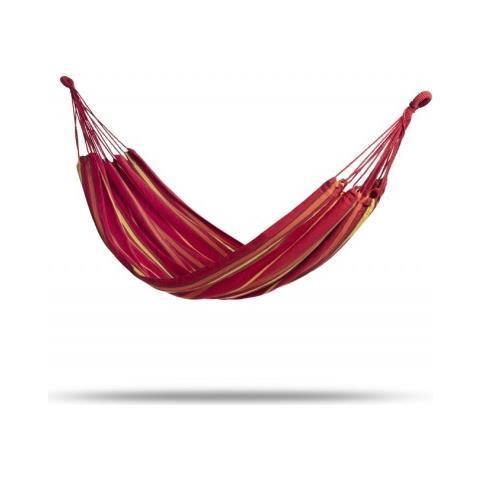Amaca Da Giardino E Campeggio | Amache In Cotone Di Vari Colori | 2 Moschettoni, Corda In Nylon E Borsa | Per 1 Persona (200 X 100 Cm) (rosso)