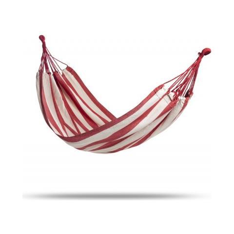 Amaca Da Giardino E Campeggio | Amache In Cotone Di Vari Colori | 2 Moschettoni, Corda In Nylon E Borsa | Per 1 Persona (200 X 100 Cm) (rosso E Bianco)