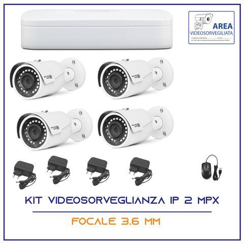 Image of Kit Videosorveglianza Ahd Ip Nvr 4 Canali 4 Telecamere Ip 2 Mpx