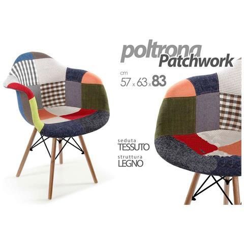 Image of Poltrona Patchwork Tessuto Design Multicolor Cm 57 X 63 X 83 H