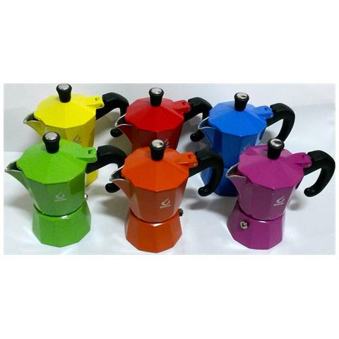 Moka 1-2-3-6 Tazze Tz Caffettiera Colorata Caffè Caffe' Cafè Napoletano - 2 Tazze