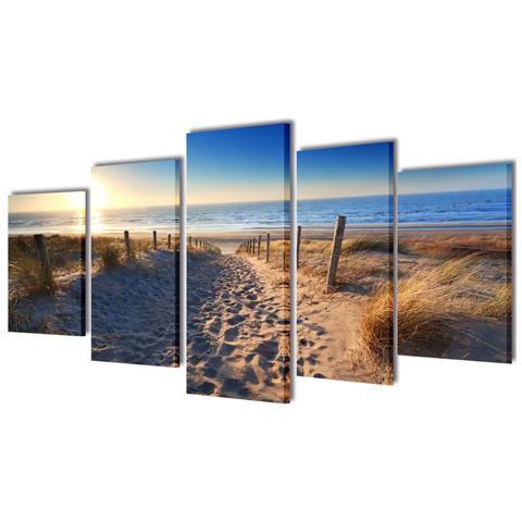 vidaXL 5 Pz Set Stampa Su Tela Da Muro Spiaggia Di Sabbia 100 X 50 Cm