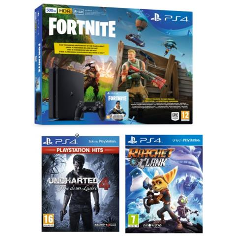 Image of Console PS4 500GB + Fortnite Voucher + Uncharted 4 + Ratchet & Clank (Hits)