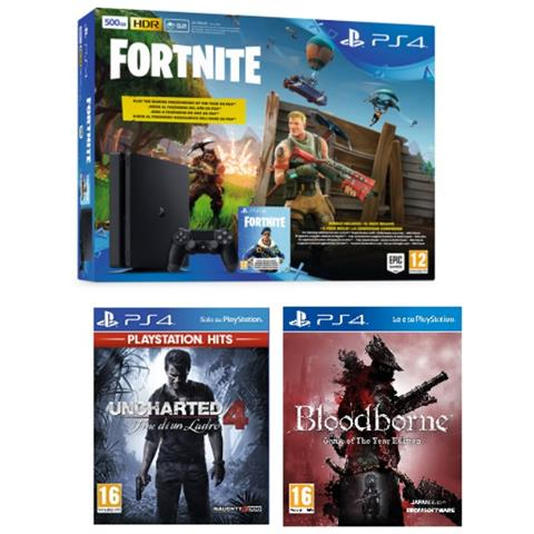 Image of Console PS4 500GB + Fortnite Voucher + Uncharted 4 + Bloodborne (Hits)