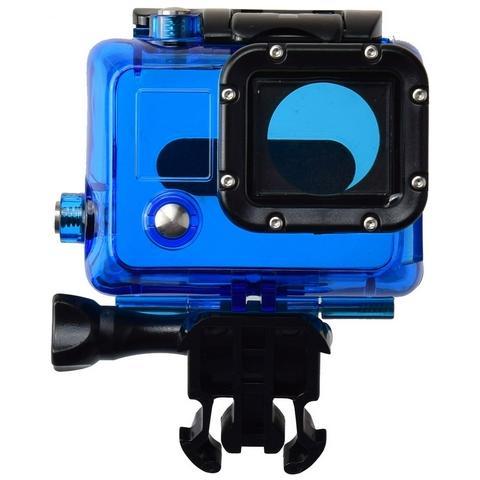 Network Shop Case Protettivo Waterproof Clear Blu Per Camera Gopro Hd Hero 3 / 3+ / 4 Black