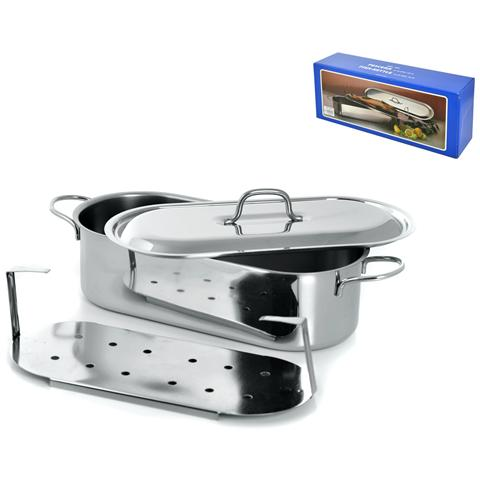 Pescera Inox Con Coperchio Grande Cm40 Pentole Cucina