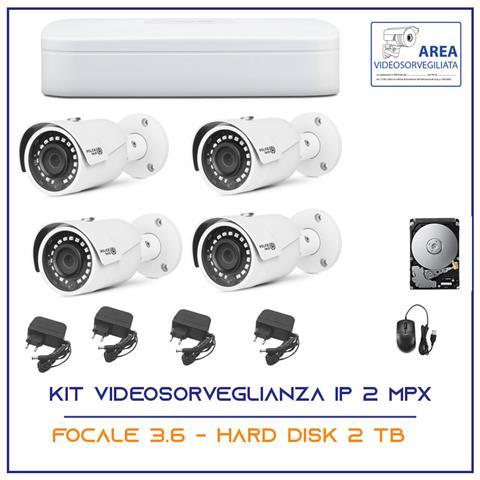 Image of Kit Videosorveglianza Ahd Ip Nvr 4 Canali 4 Telecamere Ip 2 Mpx Hd 2 Tb
