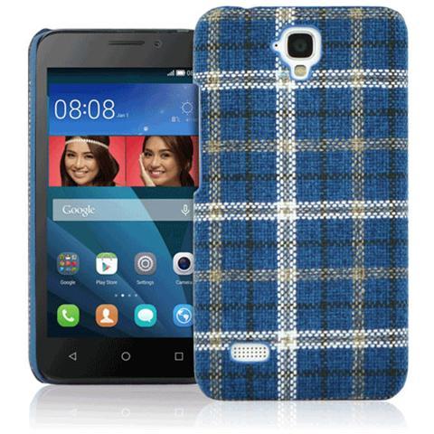 FONEX Tartan Cover Rigida in Tessuto con Texture Scozzese per Huawei Y5 Colore Blu