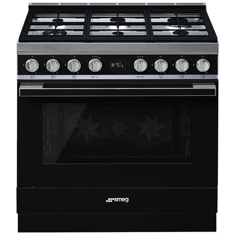 Cucina Elettrica CPF9GPBL 6 Fuochi a Gas Forno Elettrico Dimensione 90 x 60 cm Colore Nero