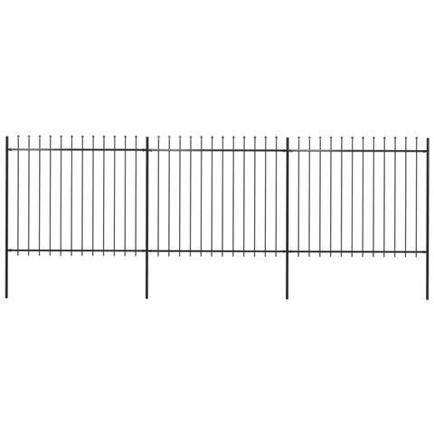 Recinzione Giardino Con Punta A Lancia In Acciaio 5,1x1,5m Nera