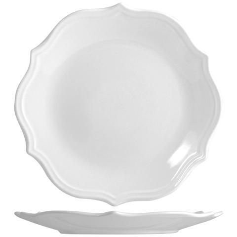 H&H Piatto Ceramica Adele Bianco Piano Cm27 Tableware