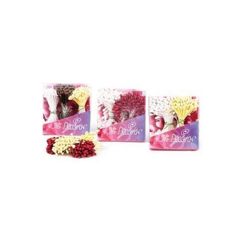 Decora Confezione 288 pistilli per fiori bianco perla / rosso