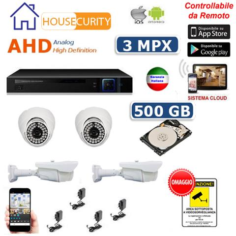 Image of Kit Videosorveglianza Ahd 4 Telecamere Ahd Infrarossi 3 Mpx Hd 500 Gb