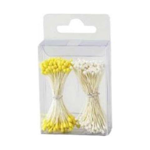 Decora Confezione 288 pistilli per fiori bianco perla / giallo opaco