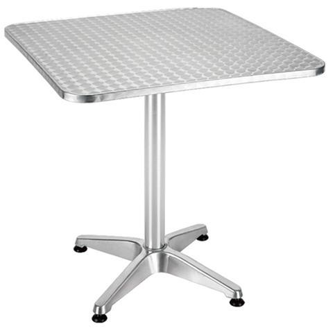Tavolo da giardino in alluminio con piano in acciaio Cm 70x70