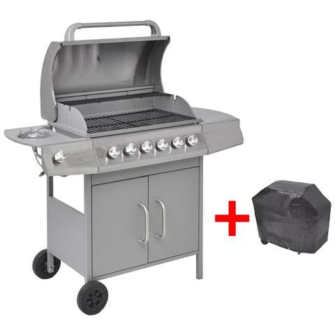 Grill Barbecue A Gas 6+1 Fornelli Argentato