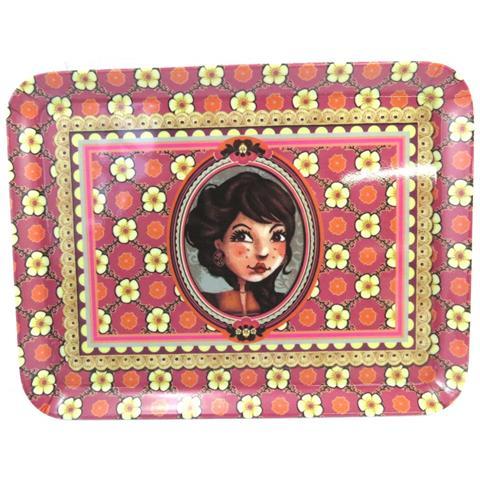 piccolo vassoio 'belle epoque' rosso (24x18 cm) - [ m3374]