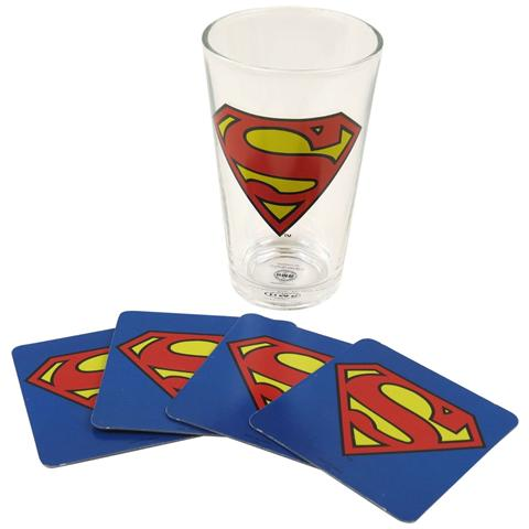 HALF MOON BAY Superman - Logo (Bicchiere+4 Sottobicchieri)