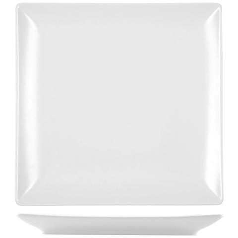 H&H Piatto Stoneware Boston Bianco Piano 24x24 Stoviglie