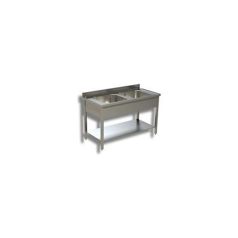 Lavello 110x70x85 Acciaio Inox 430 Su Gambe Ripiano Cucina Ristorante Rs4740